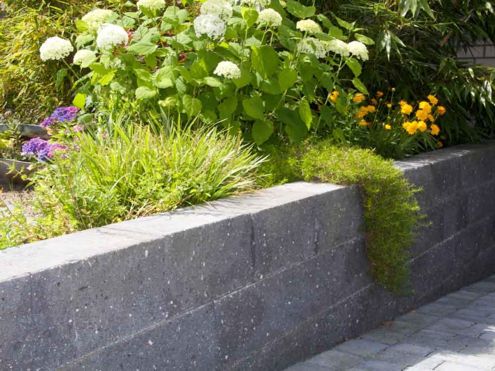 Moderner Betonmauerstein kombiniert mit einer abwechslungsreichen Bepflanzung
